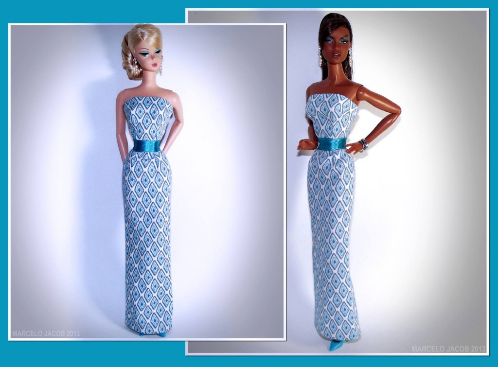 Barbie & Adele in Marcelo Jacob dress