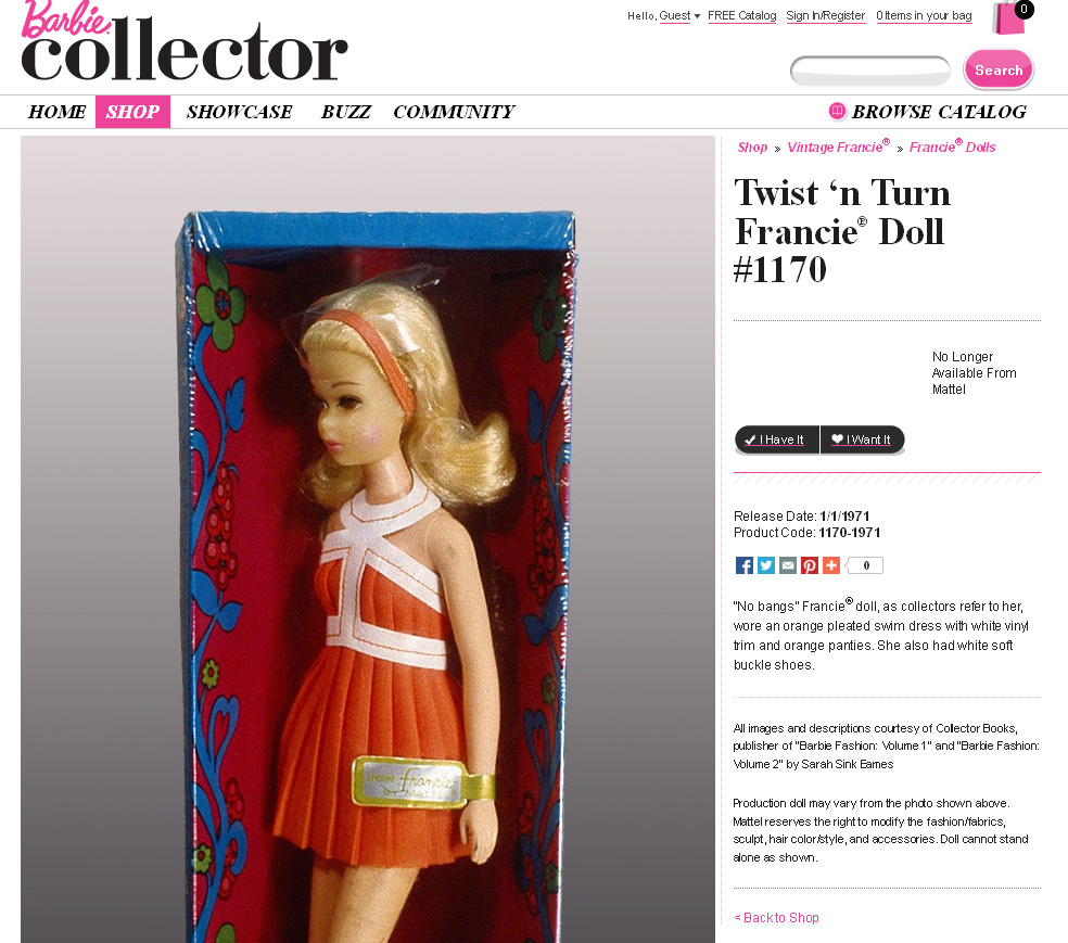 Barbie Collector Vintage Francie Showcase
